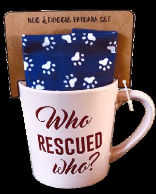 """Pink Mug & Dog Bandana Set: """"Who Rescued Who?'"""