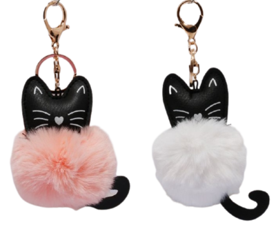 Cat Keychain w/Fluffball (2 colors)