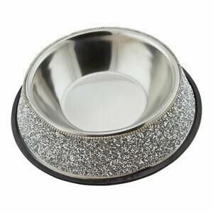 Large Rhinestone Stainless Steel Dog Bowl