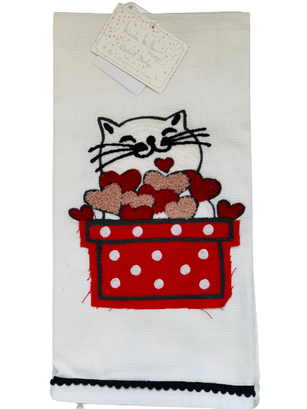 2-Pack Designer Kitchen Towel Set: Cat & Fuzzy Hearts