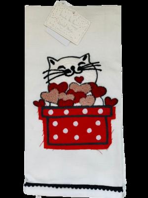 2-Pack Designer Kitchen Towel Set: Cat & Fuzzy Hearts