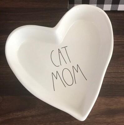 Rae Dunn 'Cat Mom' Heart Ceramic Dish