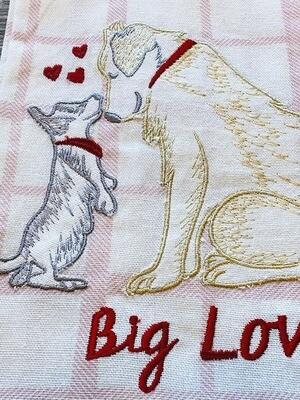 Designer 2-Pack Kitchen Towel Set: 'Kissing Dogs'