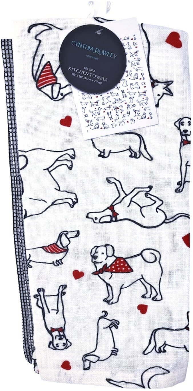 Designer 3-Pack Kitchen Towel Set:  Dogs in Bandanas