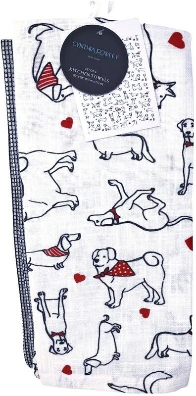 Designer 3-Pack Kitchen Towel Set:  Dogs in Bandanas