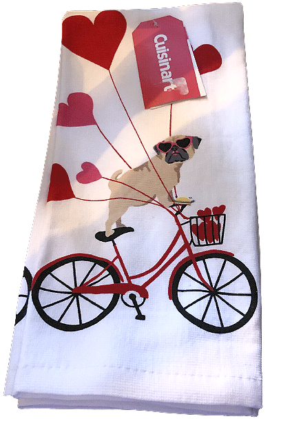 2-Pack Kitchen Towel Set: Pug Love on Bicycle
