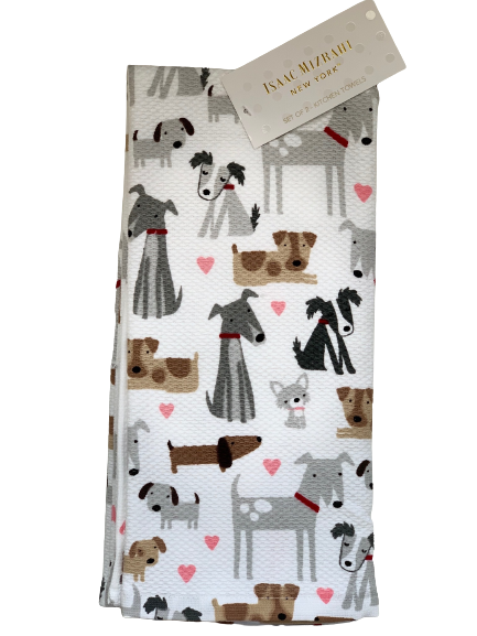 2-Pack Designer Kitchen Towel Set: Dogs & Hearts