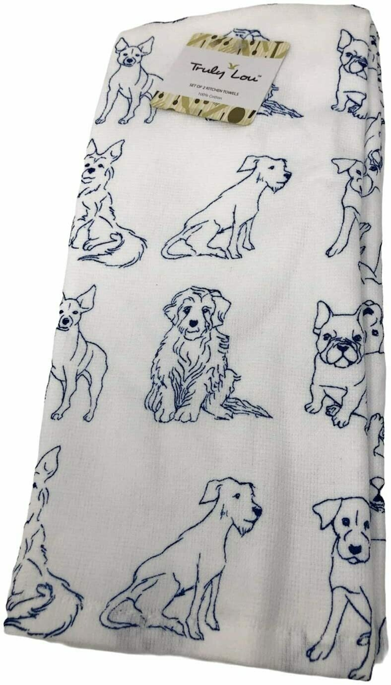 2-Pack Kitchen Towels: Navy Dog Drawings