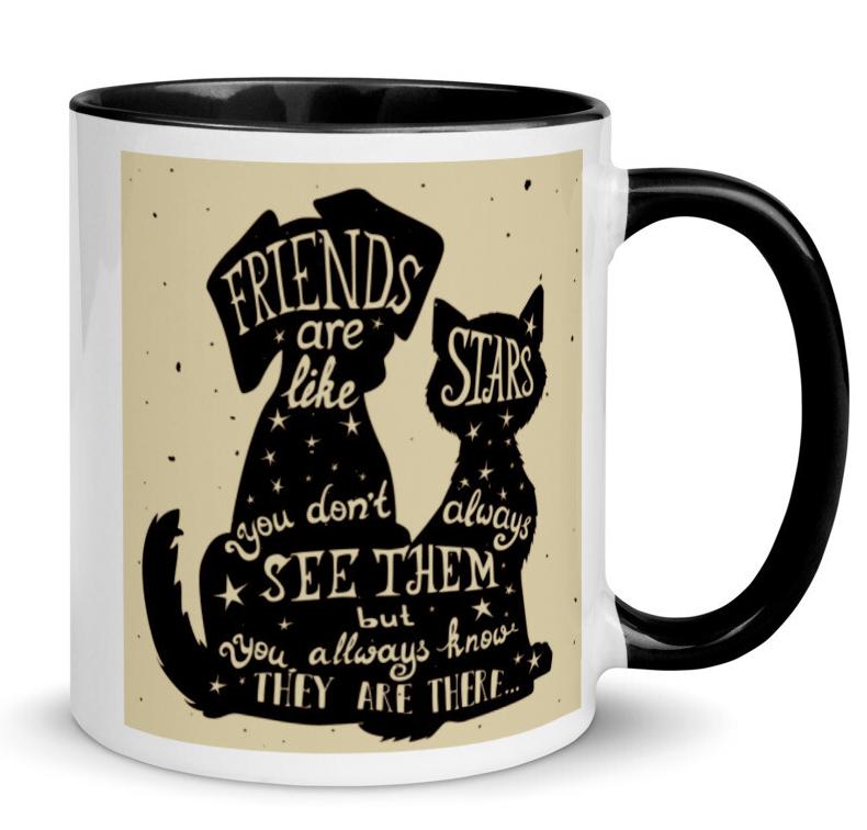 Dog, Cat & Night Sky Mug: 'Friends Are Like Stars...'
