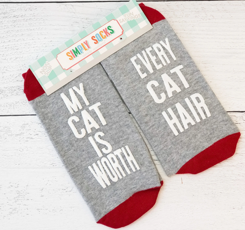 Simply Southern Non-Slip Socks: 'Cat Worth Cat Hair...'