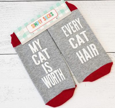 Simply Southern Non-Slip Socks: 'Cat Worth Cat Hair'