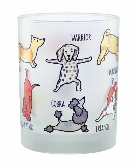Set of 2 Yoga Dogs Frosted Glasses