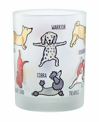 Set of 2 Colorful 'Dogs Doing Yoga' Frosted Glasses