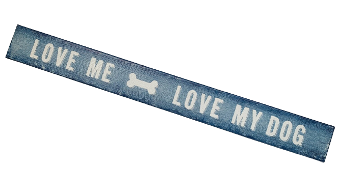 Turquoise Wood Block Sign: 'Love Me, Love Dog'