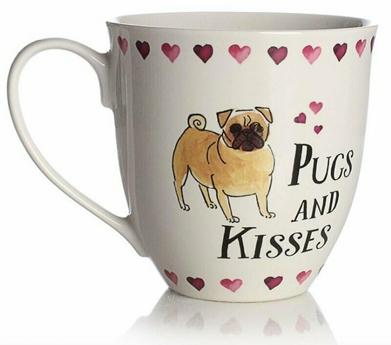 British Ceramic Mug: 'Pugs and Kisses'