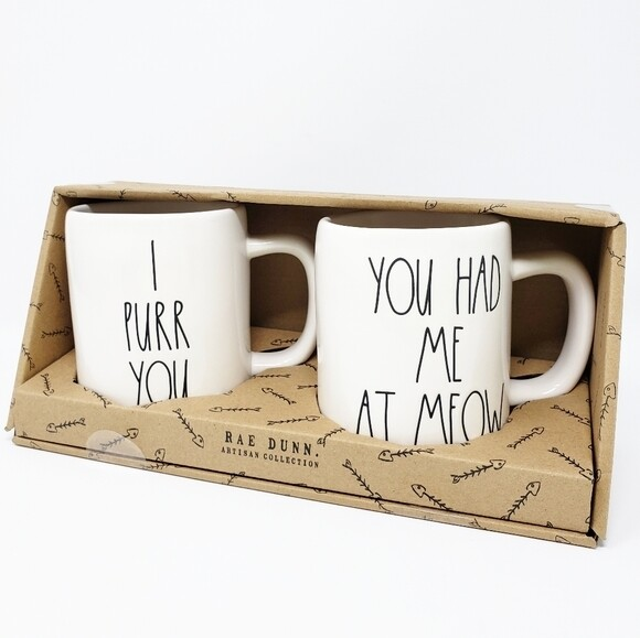 Rae Dunn Mug Set: 'Had Me At Meow' & 'I Purr You'