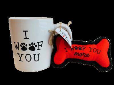 Mug & Dog Toy Set: 'I Woof You'