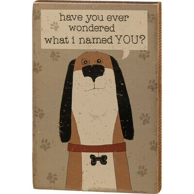 Wood Block Sign: 'Wonder What I Named You?'