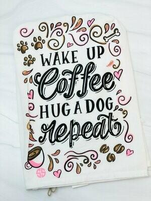 Simply Southern 'Wake Up, Coffee, Hug Dog, Repeat' Kitchen Towel