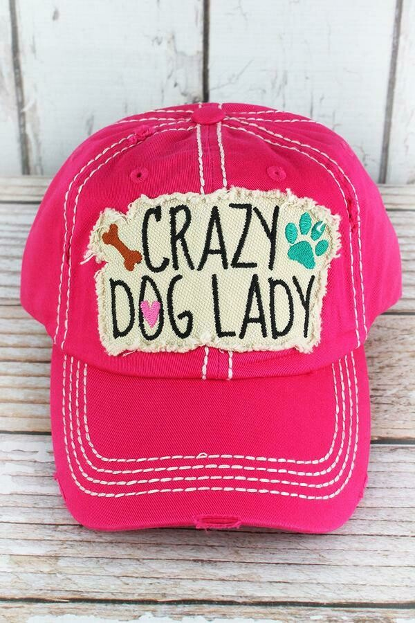 'Crazy Dog Lady' Embroidered Baseball Cap (3 colors!)