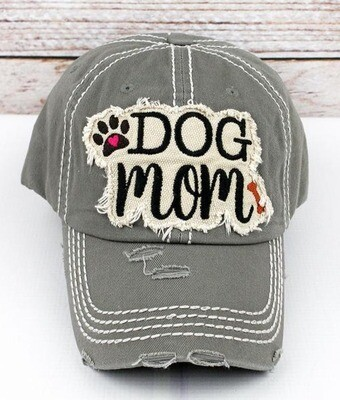 'Dog Mom' Embroidered Baseball Cap (4 colors!)