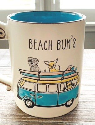 'Beach Bums' Surfing Dogs Mug