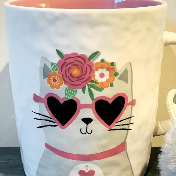 Cat Love Mug Set w/Fluffball Keychain