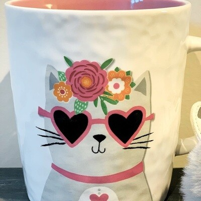 Cat Love Mug Set w/Fluffball Keychain