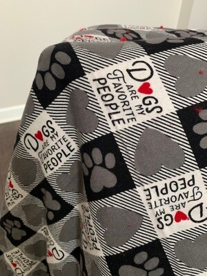 Handcrafted Reversible Flannel Throw: 'Dogs Are My Favorite People'