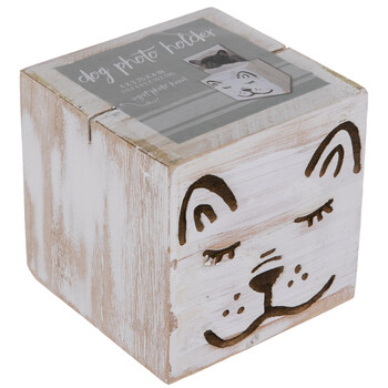 Whitewashed Wood Block Dog Photo Holder