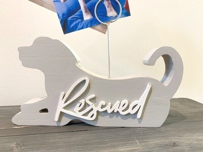 Wood Dog Cutout 'Rescue' Wire Photo Holder