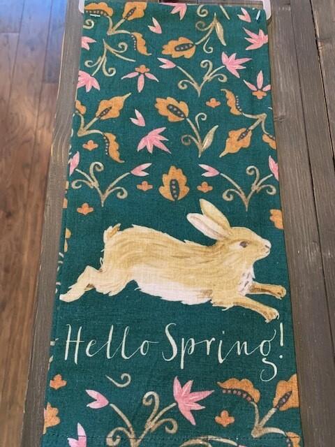 'Hello Spring' Bunny Flowers Kitchen Towel