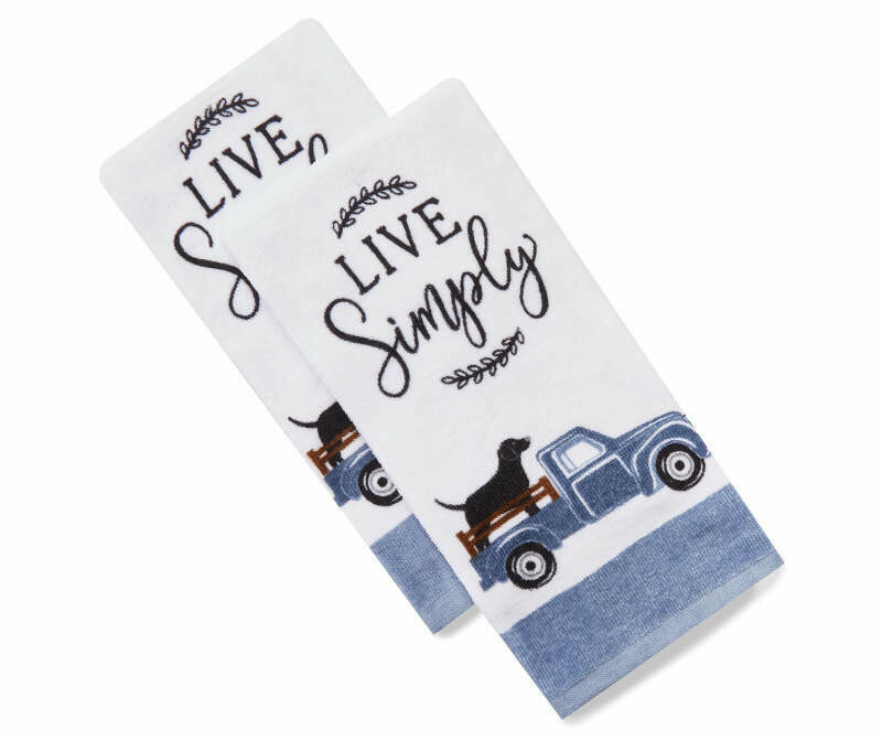 2-Pack Labrador in Truck 'Live Simply' Kitchen Towels