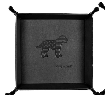 Simply Southern Leather Tray: Flag Dog