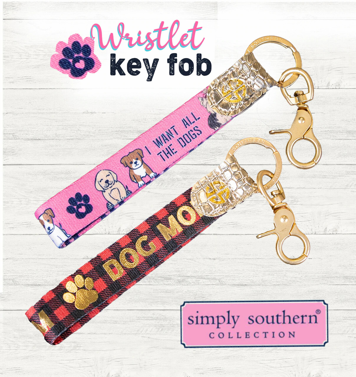 Simply Southern Dog Mom Wristlet Keychain (2 designs!)