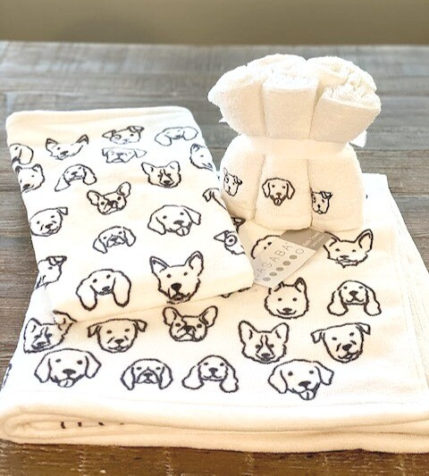 Ultra-Absorbent Dog Print Towel Set + FREE Gift