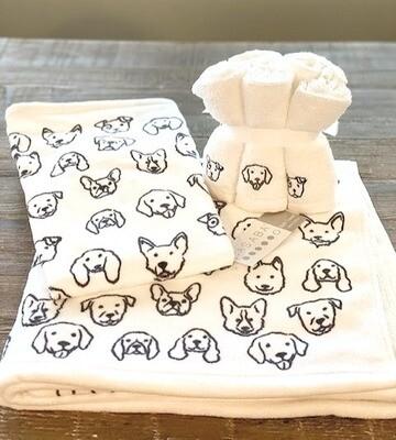 Ultra-Absorbent Dog Print Towel Set + FREE Gift
