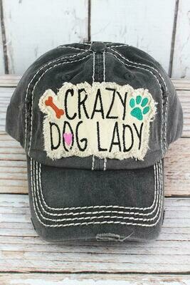 'Crazy Dog Lady' Embroidered Baseball Cap (2 colors!)
