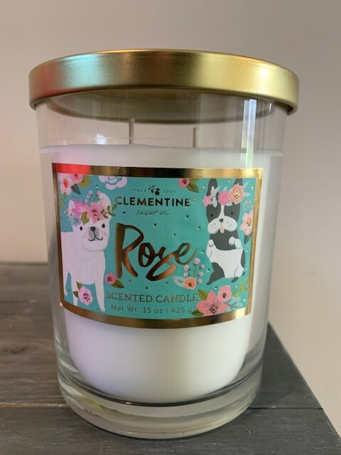 2-Wick Candle: Dogs in Floral Crowns w/Rose Scent
