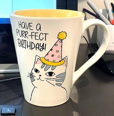 'Have a Purr-Fect Birthday' Cat Mug 🎉