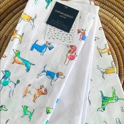 Designer 3-Pack Kitchen Towels: Colorful Dogs