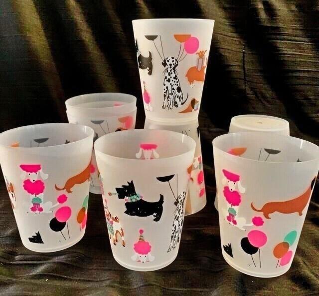 Set of 8 Large Melamine Cups: Celebrating Dogs