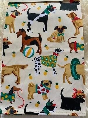 British Designer 2-Pack Kitchen Towels: Summer Dogs