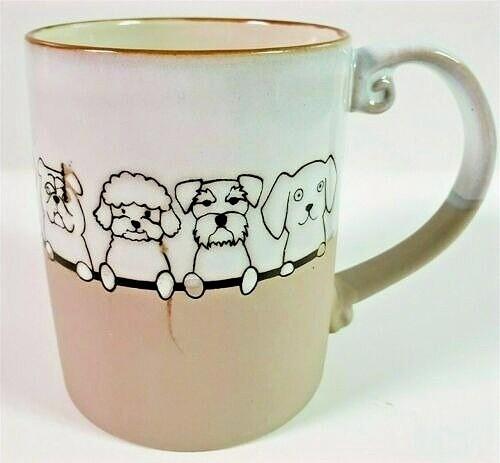Multiple Dogs Embossed Ceramic Mug