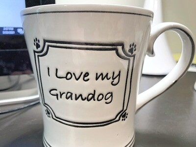'I Love My Grandog' Red & White Polka Dots Mug