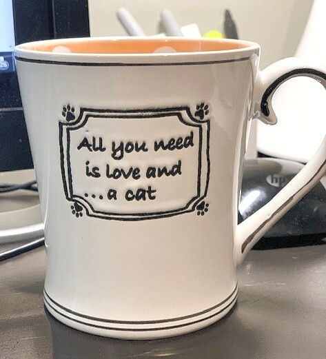 Peach & White Polka Dots Mug: 'All You Need is Love and a Cat'