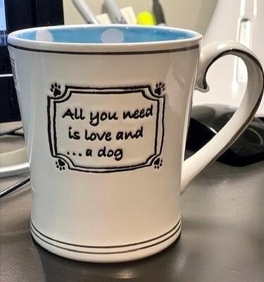 Blue & White Polka Dots Mug: 'All You Need is Love and a Dog'