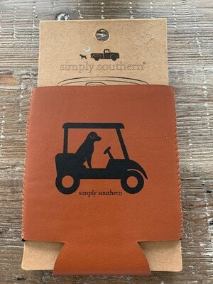 Simply Southern Leather Koozie: Golfing Dog