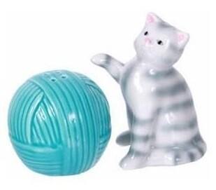 Cat and Yarn Salt & Pepper Shaker Set