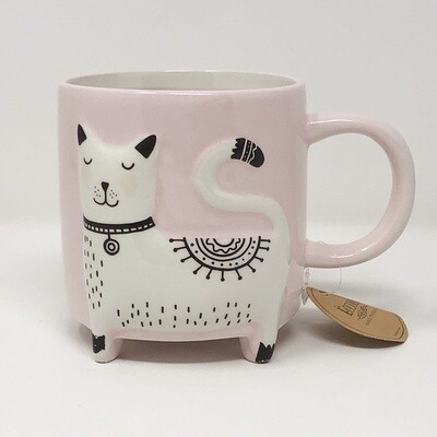 Fancy Cat Embossed 3D Pink Mug
